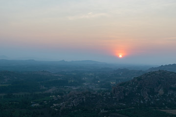 Beautiful sun set view from Hanuman Temple, Hampi, India