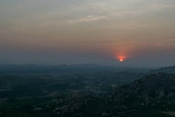 Beautiful sun set view from Hanuman Temple, Hampi, India