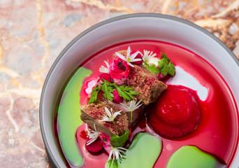 Fine dining, Elegant seabass tartare with beeroot ice cream