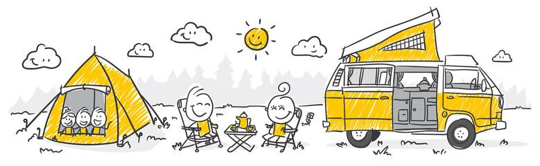 Strichfiguren / Strichmännchen: Camping. (Nr. 282)