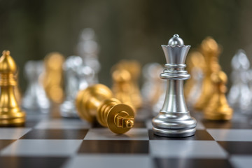 Selected focus on silver king on a chess board. Business and strategy concept. Business planning and strategy. Chess game and relaxation.