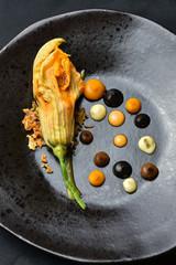 Haute cuisine appetizer with pumpkin
