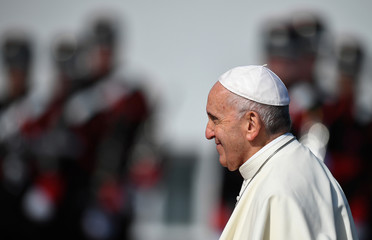 Pope Francis arrives at the Presidential Residence during his visit in Dublin