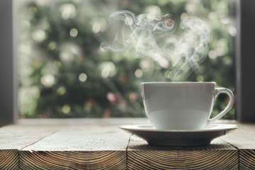 a coffee is not a wooden window sill