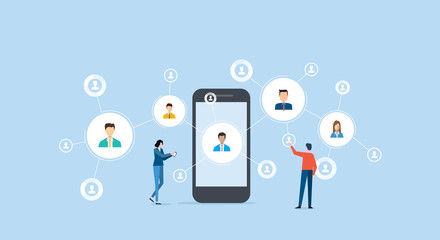 business people communication on social network concept and business online connection with mobile concept