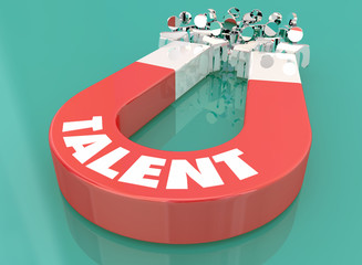Talent Skill Experience Magnet Pulling People 3d Illustration Wall mural