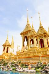 Bangkok, Thailand - November 04, 2017; Landscape Beautiful gold view The Royal Crematorium for HM the late King Bhumibol Adulyadej  at November 04, 2017