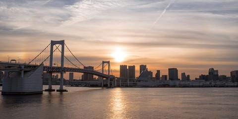 Rainbow Bridge and Tokyo skyline at sunset レインボーブリッジの夕景