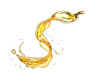 Olive or engine oil splash, Golden Cosmetic Liquid isolated on white background.
