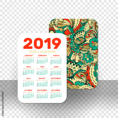 2019 pocket calendar basic grid vector vertical orientation white printable template on transparet background