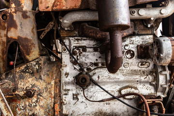 old grunge weathered rusty truck engine close up detail