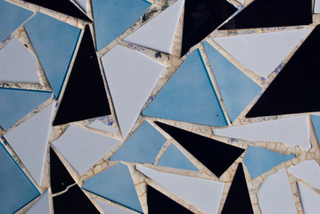 Mosaic pattern from tile. Decorative design patchwork ceramic.