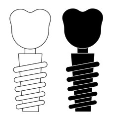 tooth implant set on a white background vector eps 10
