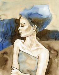 In de dag Schilderkunstige Inspiratie Woman watercolors.