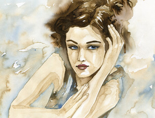 Fond de hotte en verre imprimé Inspiration painterly Woman watercolor.