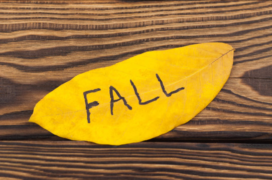 Handwritten inscription of black color FALL on yellow falling autumn leaf on old rustic brown board