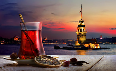 Turkish tea Maiden Tower