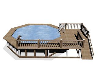 Großes eckiges Schwimmbad