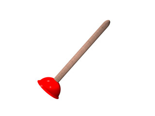 Roter Gummipömpel mit Holzstiel