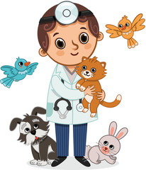 Vector Illustration of Vet and Animals