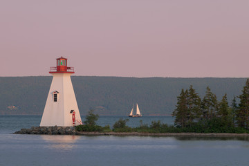 Wall Mural - Kidston Island Lighthouse at twilight in Baddeck, Nova Scotia