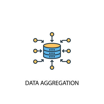 Data Aggregation concept 2 colored line icon. Simple yellow and blue element illustration. Data Aggregation concept outline symbol design from big data set
