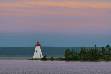 Wall Mural - Kidston Island Lighthouse at sunset in Baddeck, Nova Scotia