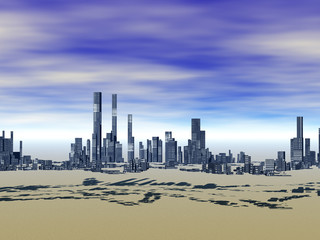 Skyline unter blauem Himmel