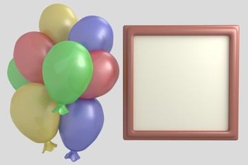 Multicolored balloons and frame for photo 3d render illustration