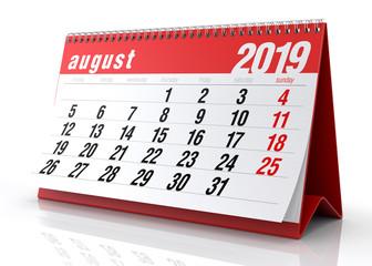 August 2019 Calendar.