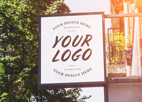 Store brand sign mockup