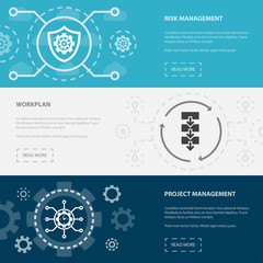 Project management 3 horizontal webpage banners template with Risk management, Workplan, Project management concept icons. Flat modern isolated icon illustration.