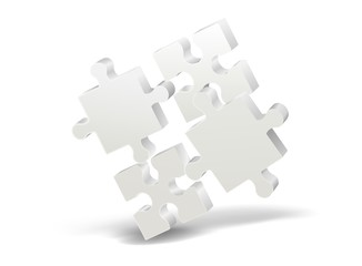 3D puzzle on white background with shadow. Vector