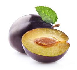 Fresh plum with slice