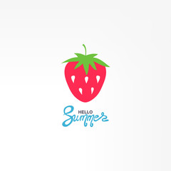 Red Strawberry icon vector. Natural food. Logo illustration.