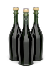 Three champagne bottles