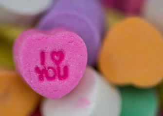 Narrow Focus of Pink I Heart You Candy Heart
