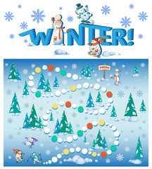 Competition snowmen in the winter forest. Who came to the finish line? The design of the educational game with the inscription WINTER. Snowmen in the style of cartoon characters.
