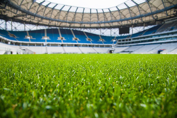 View of soccer field stadium and stadium seats