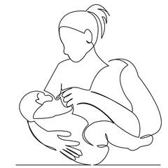mother feeds a newborn baby