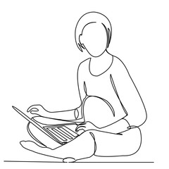 a pregnant woman working in a laptop