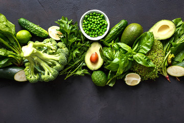 Raw healthy food clean eating vegetables green vegetables top view