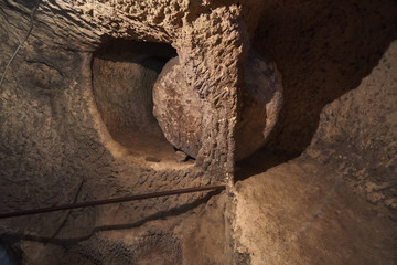Turkey, tunnels of the ancient city-refuge Derinkuyu.
