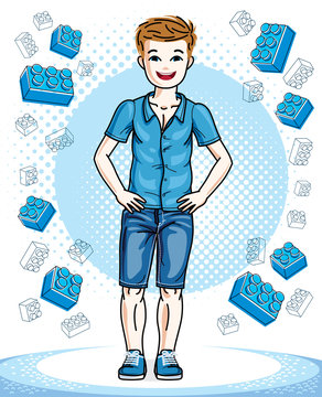 Little boy cute child standing in stylish casual clothes. Vector pretty nice human illustration. Childhood lifestyle clip art.