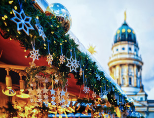 Night Christmas Market in Gendarmenmarkt at Winter Berlin Germany