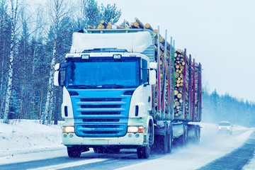 Truck at Snow Road at winter Finland in Lapland