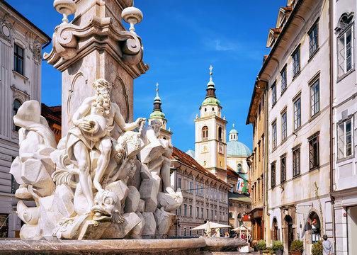 Fragment of Robba fountain in Ljubljana Slovenia