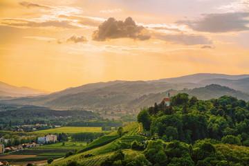 Sunset at Green hills in Maribor Slovenia Wall mural