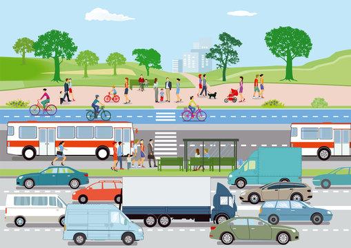 Öffentlicher Verkehr mit Radfahrern und Fußgänger