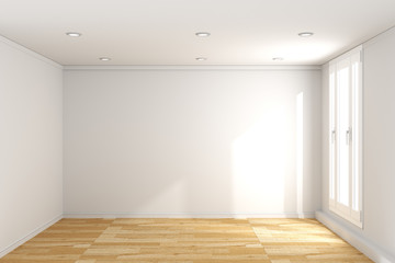 empty room interior with wooden floor on white wall background. 3D rendering